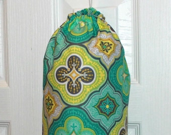 Fabric Plastic Grocery Bag Holder Dispenser-Turquoise, Yellow, and Green Flower Design--Wonderful Gift Kitchen Storage
