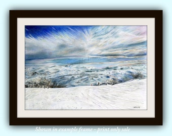 On The Piste - Ski Slope Landscape Giclee Print of original colour Pencil Drawing by English Artist Stephen Russell of RussellArt