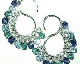 Signature S Earrings with Swarovski  Crystals  ~ Oceania Waves