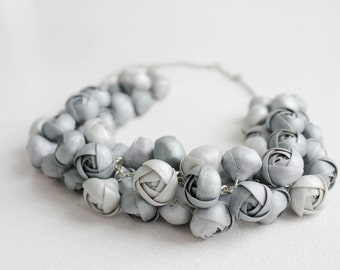 Silver Ranunculus Flower Necklace Women Polymer Clay Jewelry Statement Bib Handmade Necklace Wedding Bridal Christmas Party Accessory