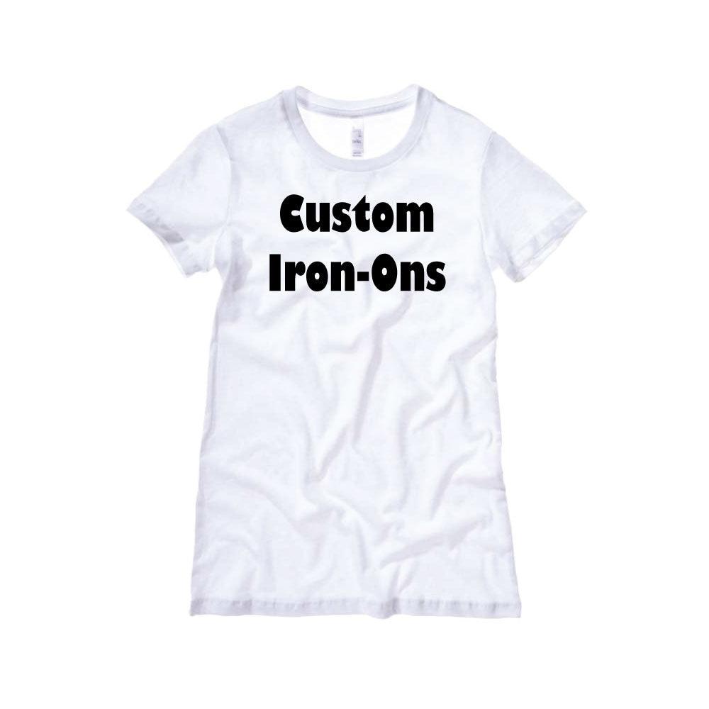 custom iron on decals heat transfers vinyl transfer iron ons t. Black Bedroom Furniture Sets. Home Design Ideas