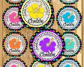 Hawaiian Luau Birthday stickers Party favor tags Custom Thank you tag Gift tags Cupcake toppers Hibiscus tags Birthday Party tags PRECUT