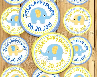 Elephant Baby Shower stickers Party favor tags Thank you tags Gift tag Cupcake toppers Baby boy tag Birthday Party tag decals PRECUT Custom