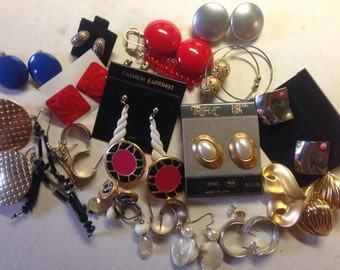 SALE Earrings Pierced & Clip Vintage De-stash lot 285