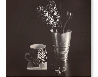 Still Life Photography, Black and White, Flower photo, home decor, tea print, coffee cup, floral, Black and White Photo,  Art Print,
