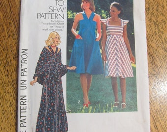 "1970s BOHO Empire Line Sun Dress with Cross Over Straps & Shawl - Size 10 (Bust 32.5"") - VINTAGE Sewing Pattern Simplicity 7332"