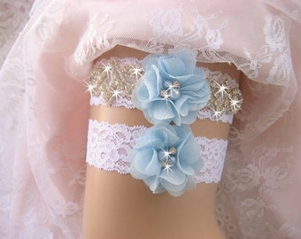 Blue Garter Wedding Garter /Lace Garter Set/Something Blue Garter Set/  Rhinestone Garter / Crystal Garter / Garter Belt / Garder