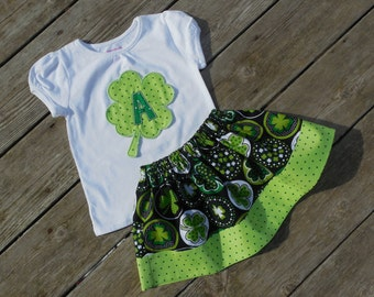 Girl's Toddlers Personalized St Patrick's Day Shamrock Skirt and Shirt Outfit