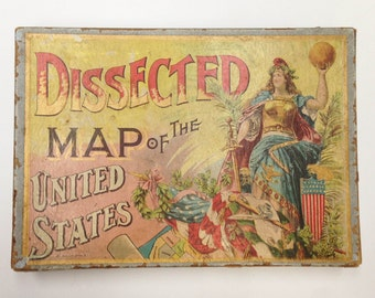 Antique Wooden Jigsaw Puzzle- United States Map, 1887- Vintage Box