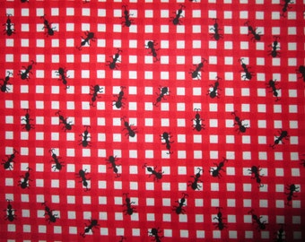 Ants Bugs Red Checked Cotton Fabric Fat Quarter or Custom Listing