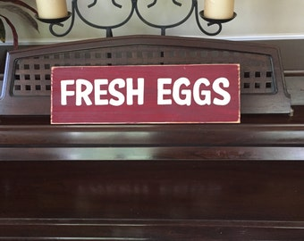 FRESH EGGS Sign For Chicken Coop House Rooster Hen Farmhouse Sign Plaque Vintage Look Wooden HP Handpainted You Pick Color