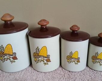 Vintage Kitschy Mushroom Design Canister Set