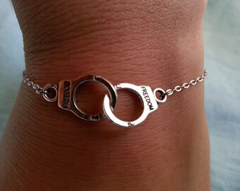 Silver Handcuff Bracelet. Handcuff Pendant. Fifty Shades Of Grey. Layering Layered. Valentines Gift Celebrity Style