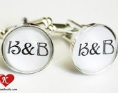 Personalized Initials Cufflinks silvercolored - wedding bachelor party groomsman groom anniversary boyfriend husband father brother gift