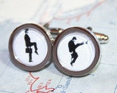 Mister Silly Silhouette Cufflinks silvercolored - funny british humour walk python brother father boyfriend husband men jewelry