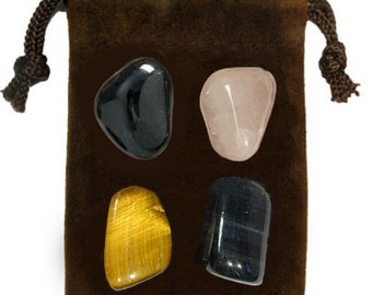 WILLPOWER - Meditation Stone Set Crystal Healing Gemstone Kit, Tumbled Gemstone Healing Set, 4 Stones, Pouch, Card