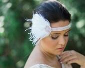 wedding headpiece, wedding flapper headpiece, great gastby headband, Art Deco 1920's headband, bridal flapper headband - SCARLETTE