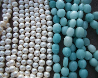 FRESHWATER PEARLS or Amazonite Beads Rounds Full & Half Strand Beauty Creativity Sea Goddess joy Jewel Moon Visions Dreams Love Magic Spells