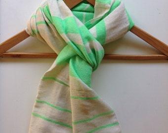 Scarf -Neon Green and white Cotton wool striped scarf-Men Women scarf scarfs - cotton wool Hand-woven Ethiopian Scarves- stole wraps Green.