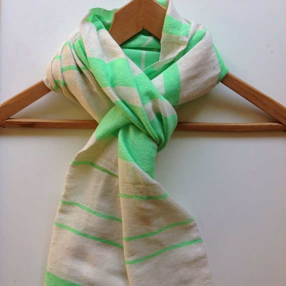 Scarf -Neon Green and white Cotton wool striped scarf-Men Women scarf scarfs - cotton wool Hand-woven Ethiopian Scarves- stole wraps Green.