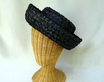 Vintage Ladies Hat Navy Blue Straw Upturned Brim Janyth Roy