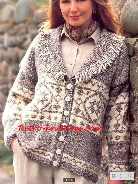 PDF Knitting Pattern for a Ladies Shawl Collared Aran Jacket