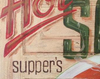 Hot Soup retro feel wood sign print