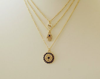 Evil Eye Necklace, Crystal and Gold Evil Eye Necklace, Layered Evil Eye and Hamsa, Gift for her, Good luck charm
