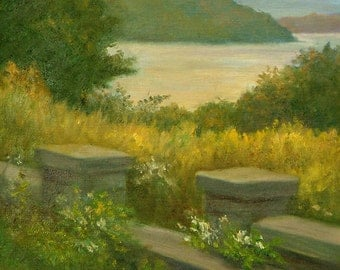 Hudson River Art Print, Hudson River Artwork, Hudson River View Print, Oil Landscape Art, Nature Art, Home Decor Wall Art by P. Tarlow