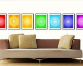 Yoga Posters with Charka Art in Rainbow Colors