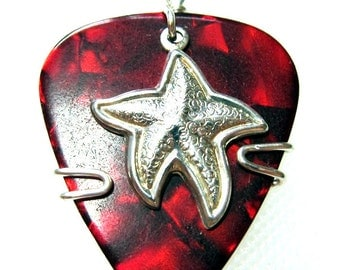 Red Pick with Silver Starfish - Guitar Pick Jewelry