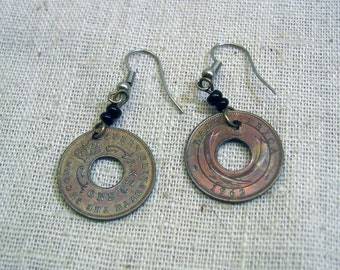Pierced  Earrings, 1960s East Africa One Cent Coin