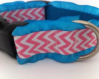 Pink Chevron Dog Collar with Ruffles
