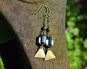 Brass Triangle Earrings with vintage black glass beads and brass chain