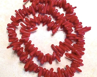 """16"""" strand 6-12mm Red Coral Beads, Coral Beads, Stick Beads, Dyed Coral Beads, Destash"""