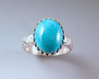 Turquoise- Sterling Silver Decorative Texture Band- Antique Style Silver Ring