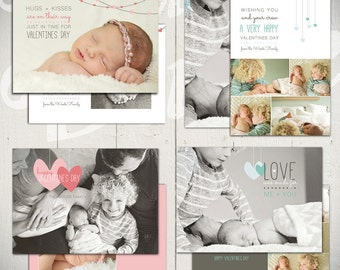 Valentines Day Card Templates: Me + You - Set of Four 5x7 Baby Valentine Card Templates