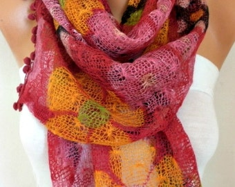 Cherry Floral Knitted Scarf Winter Accessories Cowl Scarf - Multicolor -Gift Ideas For Her Women's Fashion Accessories