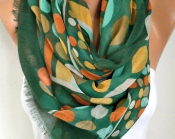 Green Polka Dot Cotton Scarf, Spring Summer Shawl, Cowl Oversized Wrap Gift Ideas For Her Women Fashion Accessories, Women Scarves