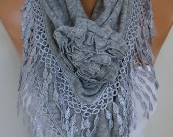 Gray Knitted Floral Scarf, OOAK Shawl, winter Scarf,Cowl, Bridesmaid Gift Bridal Accessories, Gift Ideas For Her, Women Fashion Accessories