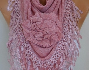 Pink Knitted Floral Scarf, Shawl Cowl Lace Bridesmaid Gift Bridal Accessories Gift Ideas For Her, Women Fashion Accessories, Christmas Gift