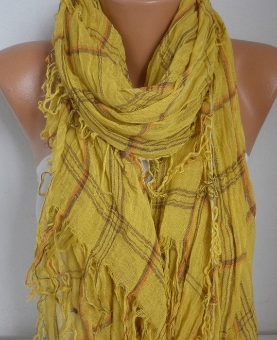 Mustard Cotton Tartan Scarf, Fall Winter Fashion, Shawl, Plaid,Cowl Bridesmaids Gift Gift Ideas For Her Women Fashion Accessories