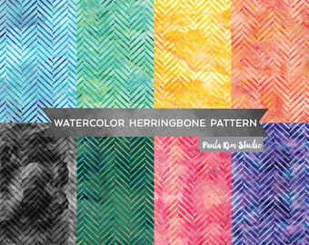 Herringbone Background, Chevron Digital Paper Pack, Digital Scrapbook Backgrounds, Herringbone Watercolor Digital Paper