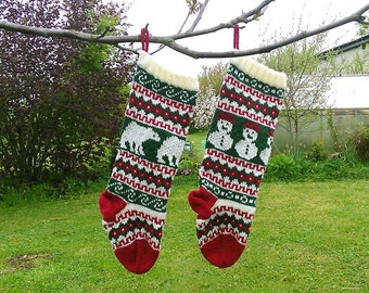 Knitting Pattern Fair Isle Christmas Stockings Snowman and Polar Bear