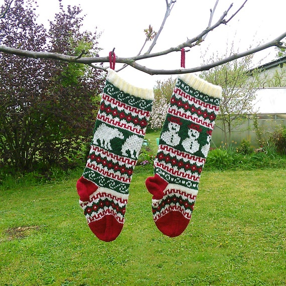 Knitting Pattern Fair Isle Christmas Stockings Snowman and