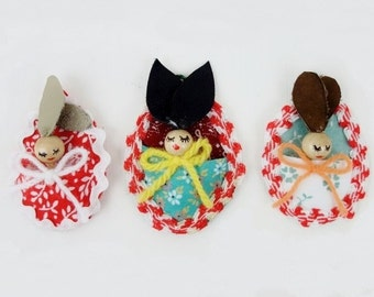 3 Vintage Hand Painted Easter Sleeping Bunnies Ornaments with Leather Ears Erzgebirge Folk Art German