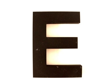 "Vintage Industrial Letter ""E"" 3D Sign Letter in Black Heavy Plastic (5"" tall) - Industrial Home Decor, Typography Letter, Altered Art"