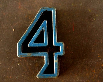 "Vintage Industrial Number ""4"" Black with Blue and Orange Paint, 2"" tall (c.1940s) - Monogram Display, Shadow Box Number, Art"