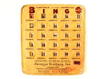 Vintage BINGO Board Card with Black Metal Shutters, Jacques Brothers Inc., Mile-High Game Supply (1950s) - Game Room Decor, Collectible