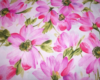 Pink Watercolor Flowers Fabric Pretty Spring Flowers By The Yard